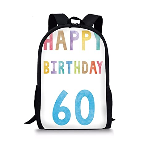 IPrint School Bags 60th Birthday DecorationsVintage Party For Elder In Abstract Rainbow Colors