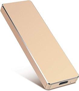 Portable External Hard Drive 1TB 2TB Portable Hard Drive External Type C USB3.1 HDD Storage Compatible for Mac, PC, Desktop, Laptop, Xbox One (Gold,2TB)