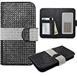 HJ POWER[TM] Huawei Raven LTE (H892L) Luxury Diamond FDS77C Leather PU WALLET POUCH Cover + [Free HJ POWER Stylus] WPUNI55FDS77C-Black