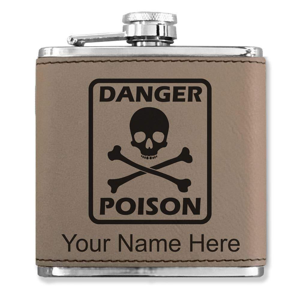 【着後レビューで 送料無料】 フェイクレザーフラスコ – – Poisonシンボル – B072BBMCDF カスタマイズ彫刻Included – (ライトブラウン) B072BBMCDF, 関東土建shop:5e3872d1 --- a0267596.xsph.ru