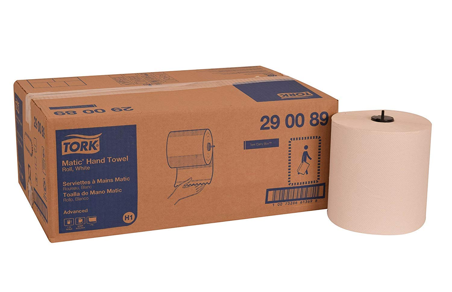 Tork 290089 Advanced Matic Paper Hand Towel Roll, 1-Ply, 7.7'' Width x 900' Length, White (Case of 6 Rolls, 700 Feet per Roll, 4,200 Feet) (12 Rolls)