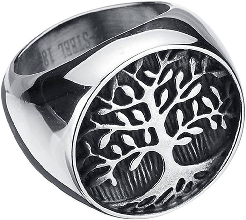 JAJAFOOK Mens 316L Stainless Steel Ring, Classic Gothic Tree of Life, Black Silver