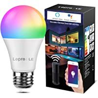 LE wifi-lamp E27, 9 W intelligente gloeilamp, Wifi, Alexa, 806 lm, RGB kleuren met warmwit, verbonden, WiFi, compatibel…