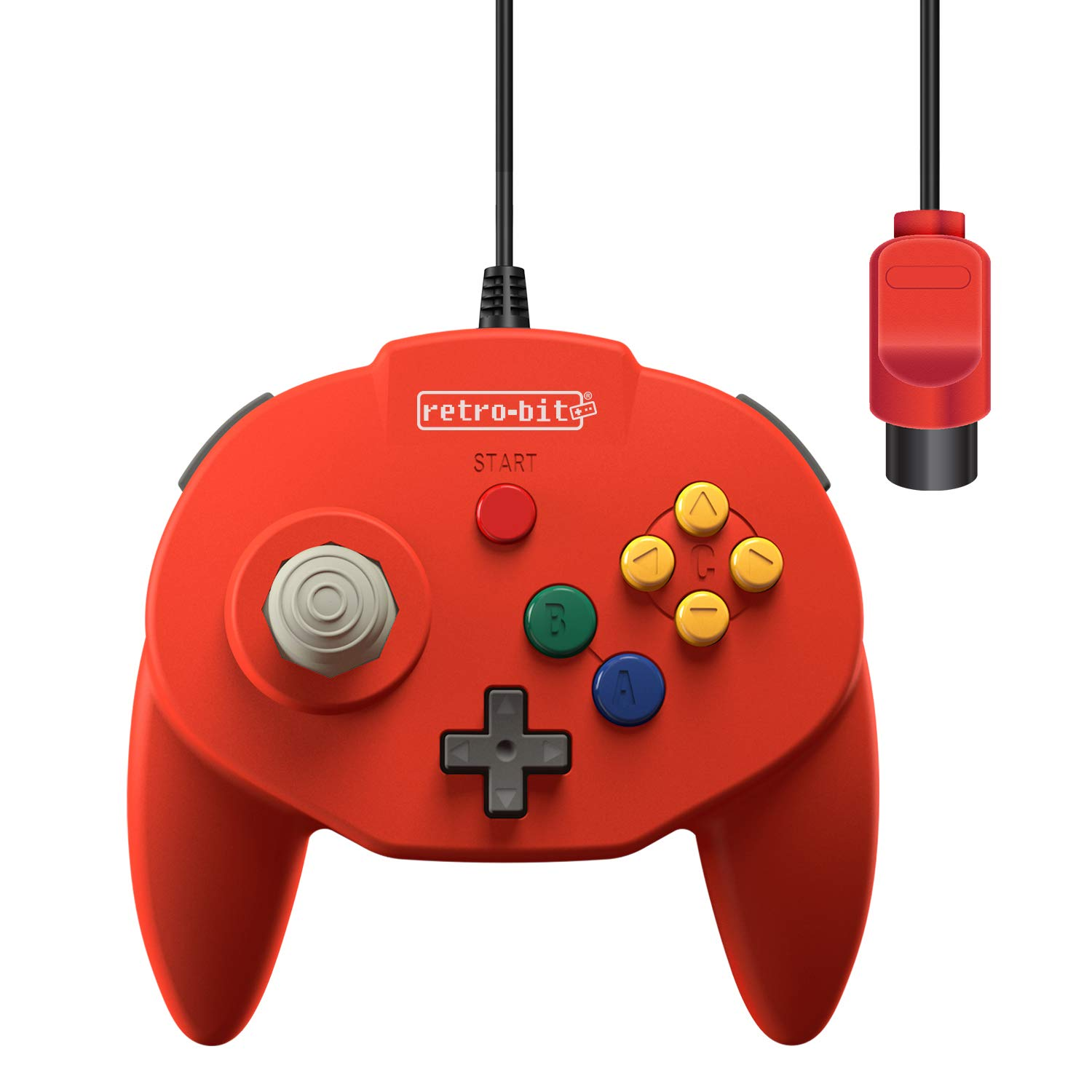 Retro-Bit Tribute 64 Wired N64 Controller for Nintendo 64 - Original Port - (Red) by Retro-Bit