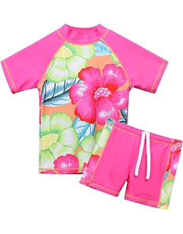 23ac74d5aedb4 BAOHULU Girls Swimsuit Two Piece Tankini UPF 50+ UV Protective Rash Guard  Set 3-