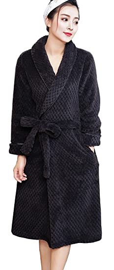 Foucome Womens Fleece Robe Long Soft Cozy Warm Bathrobe Housecoat with  Fitted Waist Black XS  281696660