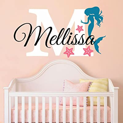 "Nursery Mermaid Personalized Custom Name and Initial Wall Decal Sticker 34"" W by 24"" H, Girl Name Wall Decal, Girls Name, Mermaids Wall Decor, Girls Decor, Girls Bedroom, Plus Free Hello Door Decal: Baby"