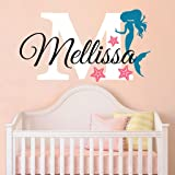 """Nursery Mermaid Personalized Custom Name and Initial Wall Decal Sticker 24"""" W by 14"""" H, Girl Name Wall Decal, Girls Name, Mermaids Wall Decor, Girls Decor, Girls Bedroom, PLUS FREE HELLO DOOR DECAL"""