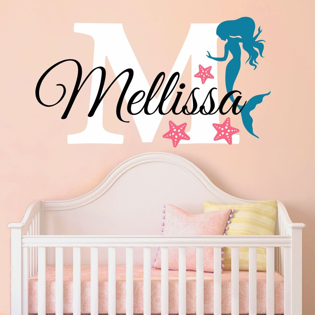 Nursery Mermaid Personalized Custom Name and Initial Wall Decal Sticker 34'' W by 24'' H, Girl Name Wall Decal, Girls Name, Mermaids Wall Decor, Girls Decor, Girls Bedroom, PLUS FREE HELLO DOOR DECAL
