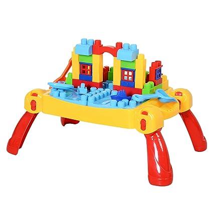 HOMCOM Kinder Spieltisch, Lernspielzeug, Lerntisch mit 46-tlg. Zubehör, Bautisch, Baustein, Baby Spielzeug ab 3 Jahren, PP, 72 x 47,5 x 29,5 cm