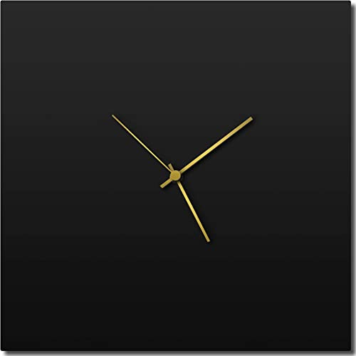 Modern Wall Clock 'Blackout Gold Square Clock' Contemporary Black Home/Kitchen Decor