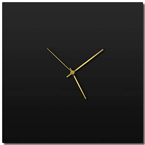 Modern Wall Clock Blackout Gold Square Clock Large Contemporary Black Home Kitchen Decor – Minimalist, Silent Sweep Hands