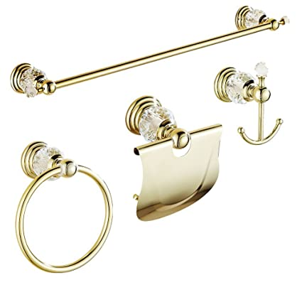Amazon.com: AUSWIND 4 Pieces Gold Polished Bathroom Accessories Sets ...