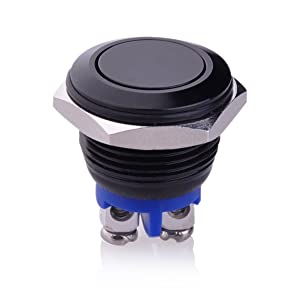 Ulincos Momentary Push Button Switch U16A1 1NO SPST Black Metal Shell Suitable for 16mm Mounting Hole