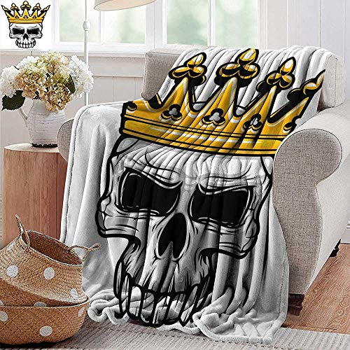 PearlRolan Flannel Throw Blanket,King Queen Size,Hand Drawn Crowned Skull Cranium with Coronet Tiara Halloween Themed Image,Golden and Light Grey,Winter Luxury Plush Microfiber Fabric 60