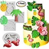 Tropical Rain Forest Theme Silicone Cake Fondant Mold,Flamingo/Pineapple/ Palm Leaves/Coconut Palm Tree Candy Chocolate Polymer Clay Hawaiian Cake Decorating