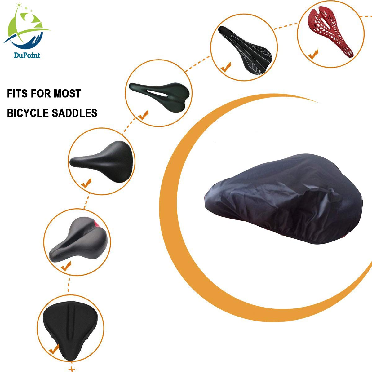 DUPOINT Double-Sided Bicycle Saddle rain Cover Bicycle Saddle dust Cover Bicycle Saddle Sun Protection Cover Suitable for Most Bike Saddle Set 2
