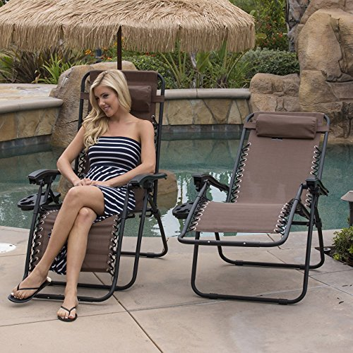 Bellezza© 2-Pack Zero Gravity Chairs Patio Lounge +Cup Holder/Utility Tray (Brown)