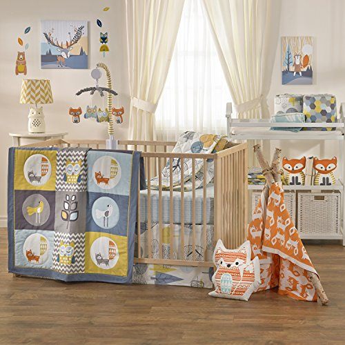 Lolli Living 4-Piece Baby Bedding Crib Set with Woods Pattern. Complete Set with Quilt, 2 Fitted Sheets, and Bed Skirt (Yellow and Blue). ()