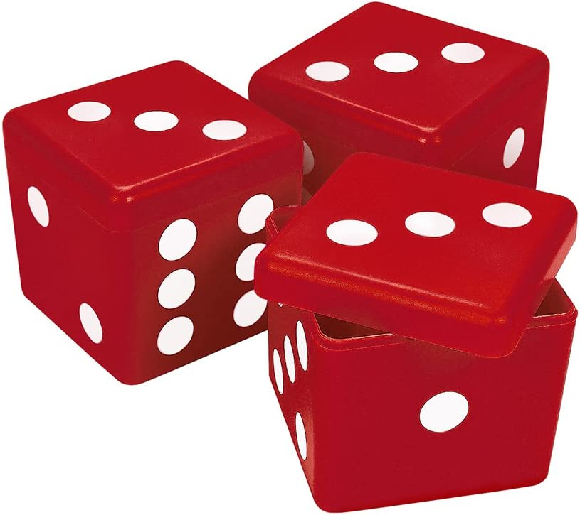 3 Red Dice Boxes for Bunco Parties or Casino Themed Events
