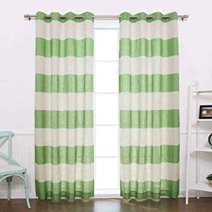 Amazoncom 2 Piece 84 Inch Lime Green White Rugby Stripes Curtains