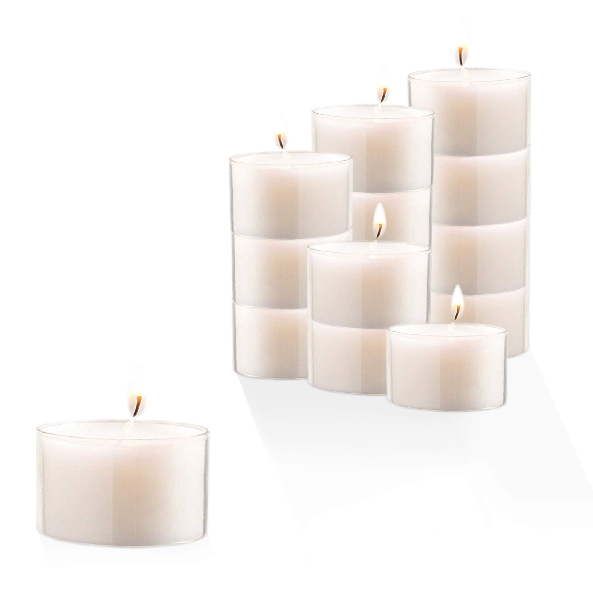 Stock Your Home 8-Hour Burning White Unscented Classic Tea Light Candles Great for Home, Weddings, Parties, Special Occasions & Holiday Decorations (Set of 30)