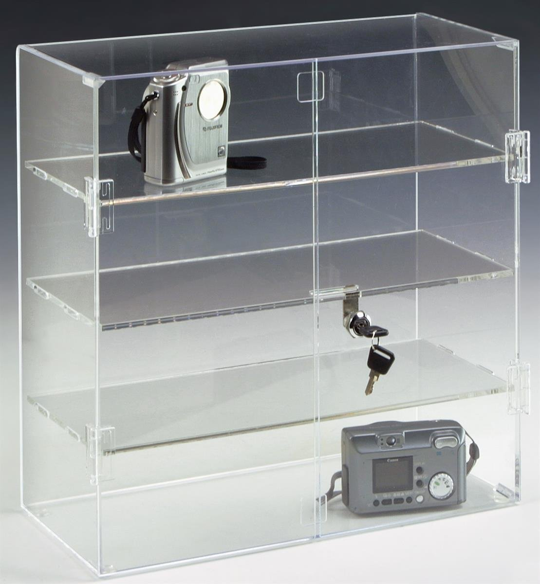 Retail Countertop Display Case, 16-1/2''h x 16-1/4''w x 7'' d, Clear Acrylic with 3 Shelves and Locking Hinged Doors