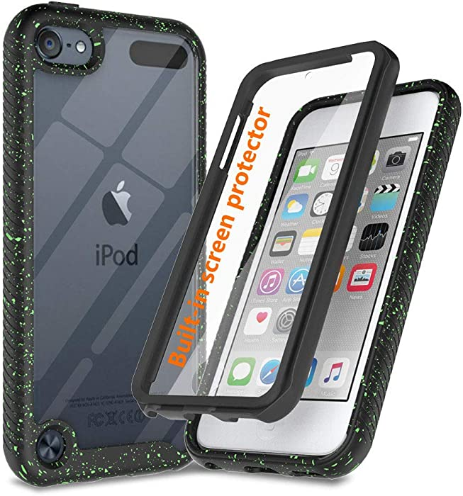 JanCalm for iPod Touch Case with Screen Protector,iPod Touch 7th Generation Case Back Clear Bumper Cover Rugged Design,Protective Drop Shockproof Full Body Hard Defender Designed (Black)