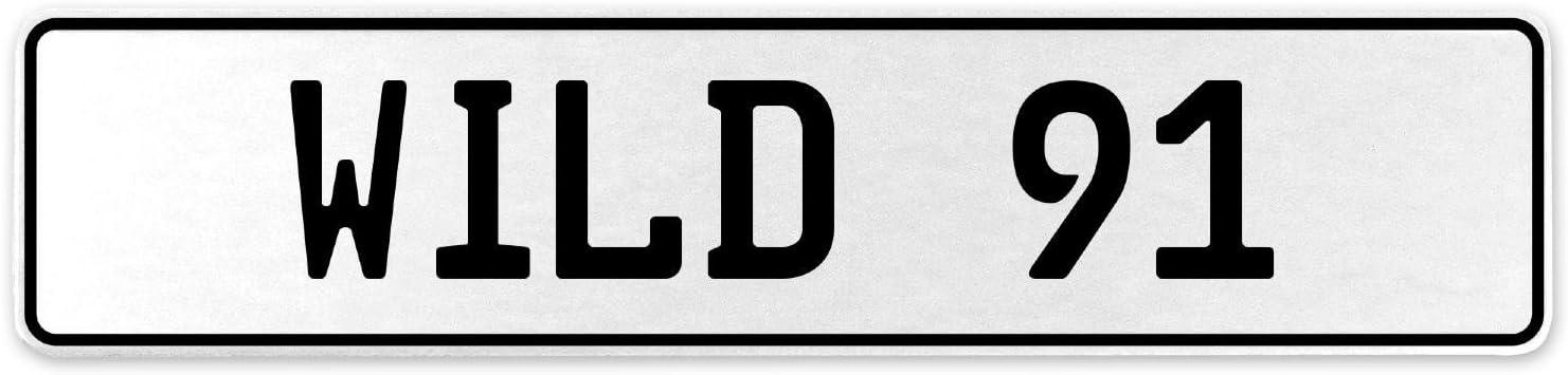 Vintage Parts 555876 Wild 91 White Stamped Aluminum European License Plate