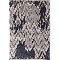 ADGO Fiesta Luxury Collection Modern Contemporary Chevron Design Vivid Color Jute Backed Thick Zig Zag Incredibly Soft and Fluffy Indoor Floor Area Rug, Mink Navy, 3 x 5