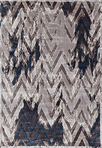 ADGO Fiesta Luxury Collection Modern Contemporary Chevron Design Vivid Color Jute Backed Thick Zig Zag Incredibly Soft and Fluffy Indoor Floor Area Rug, Mink Navy, 3' x 5'