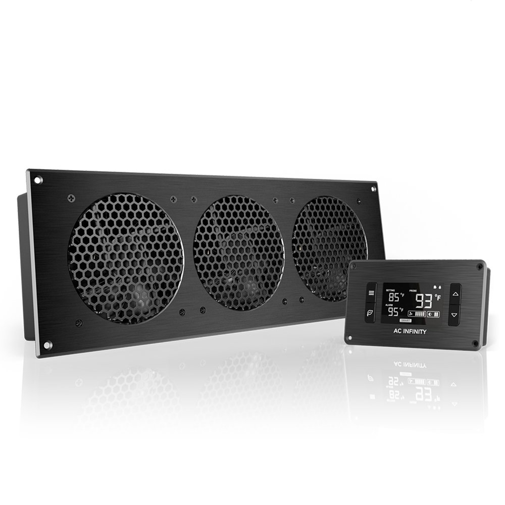 "AC Infinity AIRPLATE T9, Quiet Cooling Fan System 18"" with Thermostat Control, for Home Theater AV Cabinets"