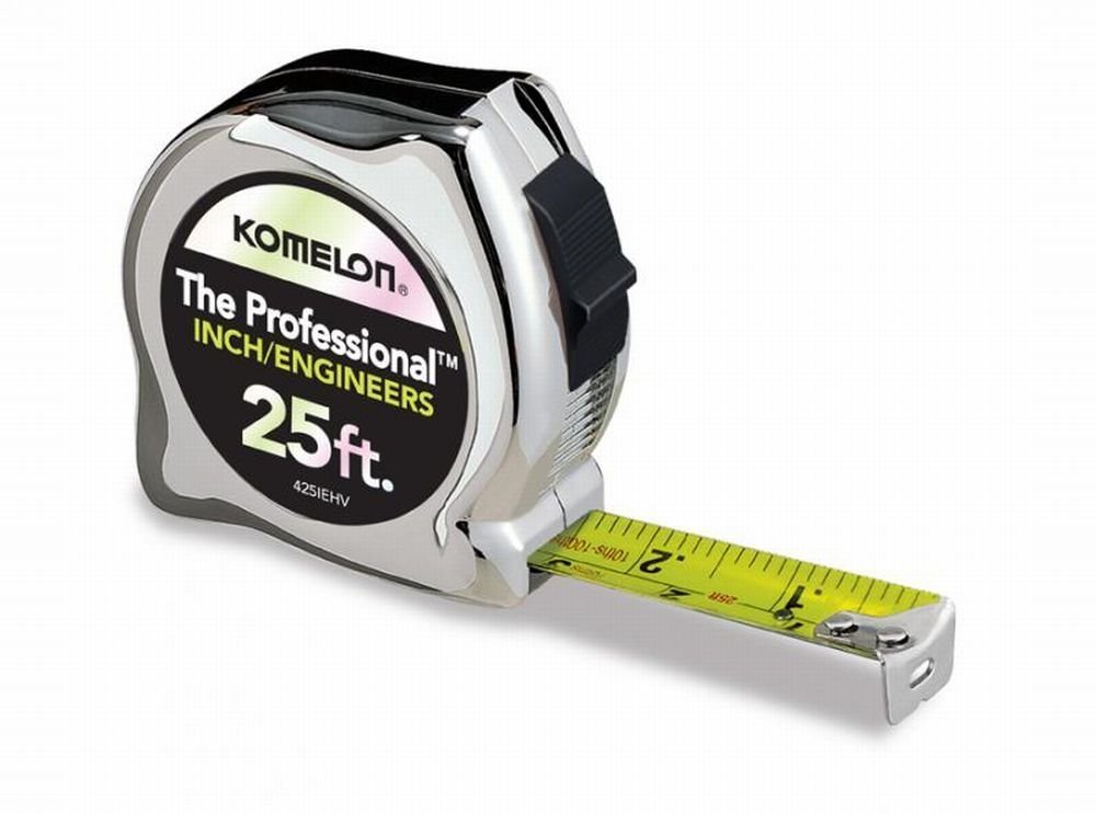 Komelon 425IEHV 5 Pack 25ft. x 1in. The Professional Tape Measure, Chrome