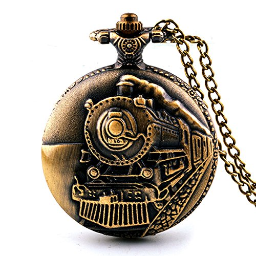 Picvadee Unisex Antique Case Vintage Brass Rib Chain Quartz Pocket Watch Train NT004