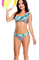 LOLLI COUTURE STRIPES ASYMMETRIC TOP REVERSIBLE TWO PIECE SWIMSUIT