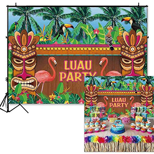 (Funnytree 7x5ft Summer Luau Party Backdrop Flamingo Tropical Hawaiian Beach Photography Background Wooden Sculpture Flamingle Sea Palm Floral Birthday Decorations Photo Booth Cake Table Banner Props)