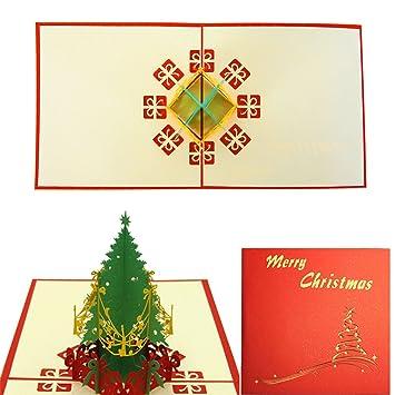 Gosear Weihnachten 3D Pop-Up-Merry Christmas Tree Grußkarte ...