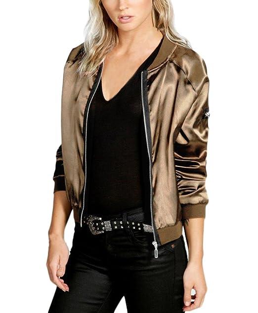 ... Stand Cuello Cremallera Sencillos Color Solido Elegante Vintage Jovenes Moda Outdoor Casual Chaqueta De Bombardero Jacket: Amazon.es: Ropa y accesorios