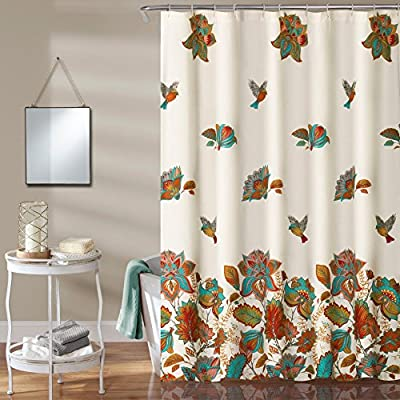 Lush Decor Bird And Flower Polyester Shower Curtain - Dimensions: 72W x 72H in. Made with polyester Machine was in cold water - shower-curtains, bathroom-linens, bathroom - 611trX6jDZL. SS400  -