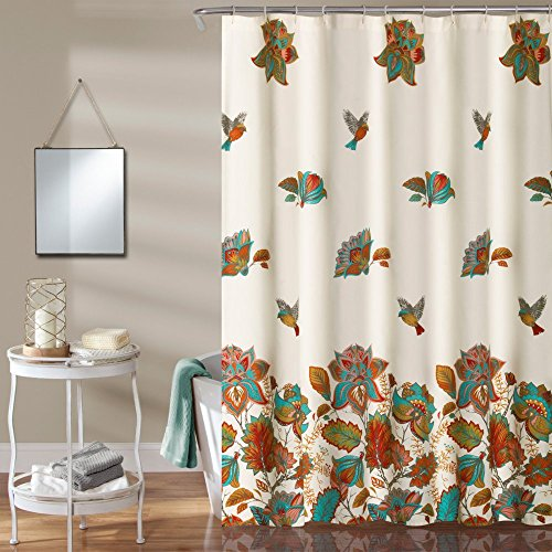 611trX6jDZL - Lush Decor Bird And Flower Polyester Shower Curtain