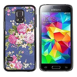 TopCaseStore / la caja del caucho duro de la cubierta de protección de la piel - Begonia Rose Floral Flower - Samsung Galaxy S5 Mini, SM-G800, NOT S5 REGULAR!