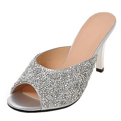 JYshoes Sommer Pantoletten mit Absatz Damen Stiletto High Heels Peep Toe Slingback Sandalen Slippers Mules Damen mit Absatz NASsbVGS4