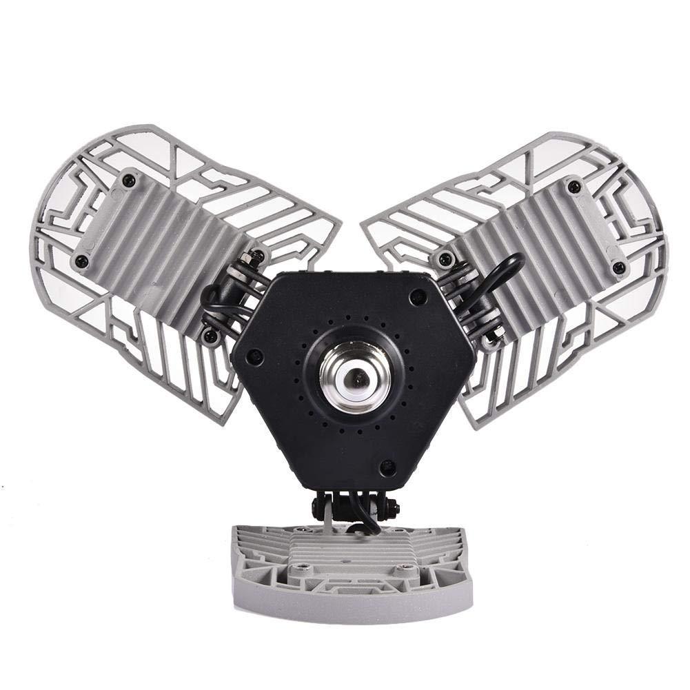 e27 60w pour le garage de magasin RUIQIMAO lampe d/éformable lumineuse superbe de plafond de garage men/é 6000 lumens d/économie d/énergie avec 3 panneaux r/églables pour e26