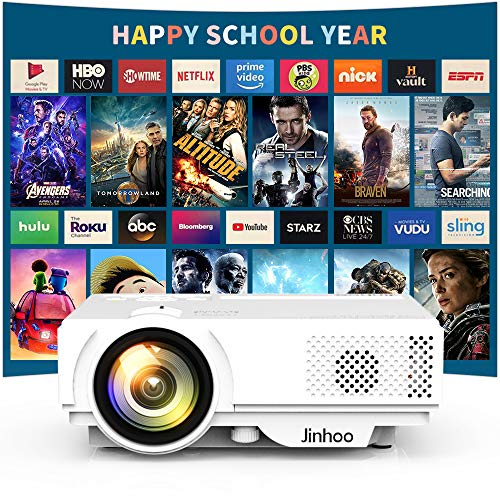 2019 Newest, Jinhoo Mini Projector 2600 Brightness Full HD 1080P Supported, Home Theater Video Projector with 176'' Projector Size 55000 Hours, Compatible with TV Stick,HDMI,AV, USB,Laptop,Smartphone