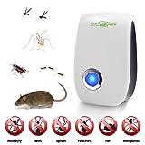 El mejor repelente de insectos y plagas – Control de plagas avanzado – Tecnología de ultrasonidos – Repele a ratones, ratas, moscas, cucarachas, arañas, mosquitos y hormigas – Ecológico, no tóxico y seguro para las mascotas - Electrónico