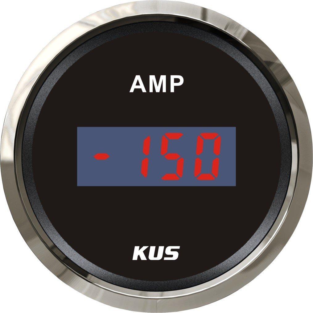 KUS Waterproof Digital Ammeter 150A With Current Sensor 12V/24V 52MM(2') With Backlit