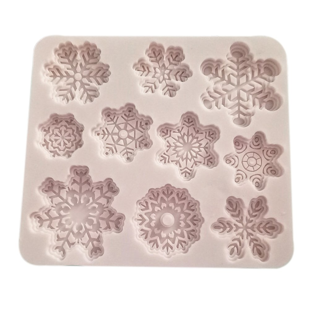 OUNONA Christmas Silicone Baking Cake Candy Moldss Snowflake Shape Mould Tray Non-stick Heat-resistant Flexible Silicone Mold for DIY Desserts