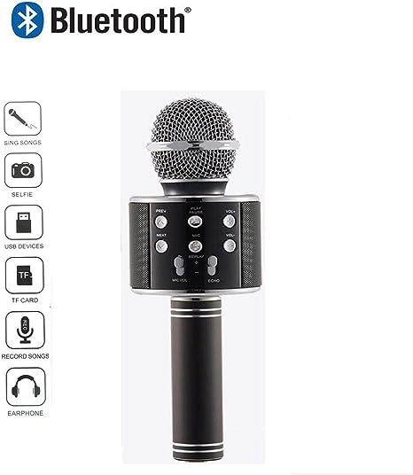 Microfono inalambrico con Altavoz y Bluetooth usb Teléfono Karaoke Radio (negro): Amazon.es: Instrumentos musicales