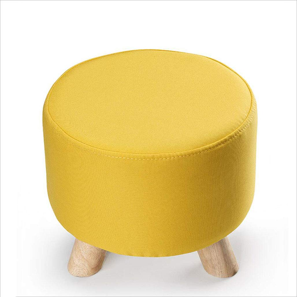 3 Three-Legged Small stools Detachable and Washable shoes stools European-Style Fabric Sofa stools shoes Low stools Solid Wood Cushions [Multi-color, 30×30×28cm], 7