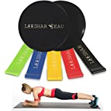 Exercise Sliders and Resistance Loop Bands Exercise Set, Dual Sided Use Gliding Core Abdominals Workout Sliders Discs